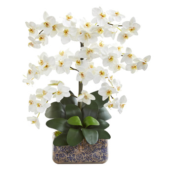 28 Phalaenopsis Orchid Artificial Arrangement in Vintage Vase - SKU #A1383