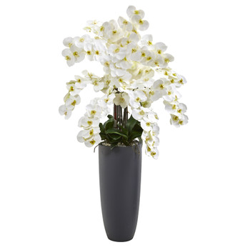 3.5 Phalaenopsis Orchid Artificial Arrangement in Gray Vase - SKU #A1384