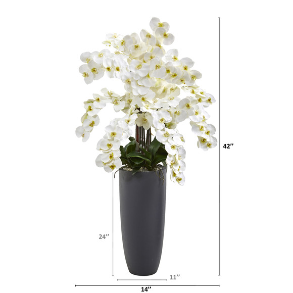 3.5 Phalaenopsis Orchid Artificial Arrangement in Gray Vase - SKU #A1384 - 1