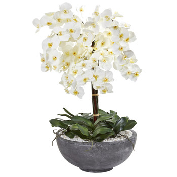 35 Phalaenopsis Orchid Artificial Arrangement in Large Cement Bowl - SKU #A1385