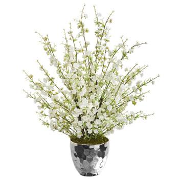 29 Cherry Blossom Artificial Arrangement in Silver Bowl - SKU #A1386