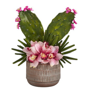 18 Cymbidium Orchid and Cactus Artificial Arrangement in Stoneware Vase - SKU #A1387