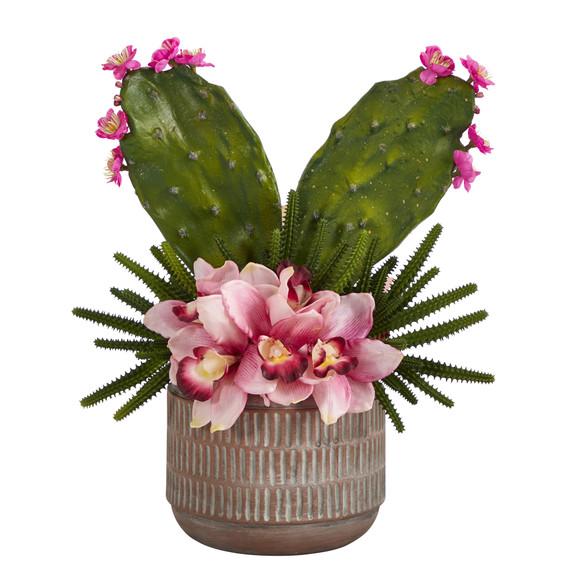 18 Cymbidium Orchid and Cactus Artificial Arrangement in Stoneware Vase - SKU #A1387