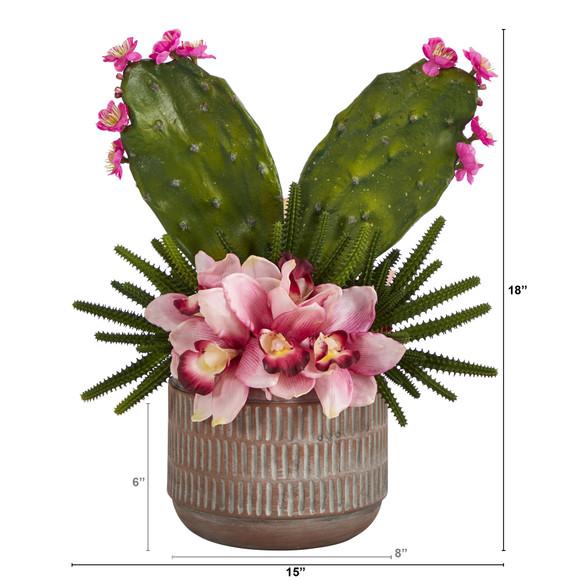 18 Cymbidium Orchid and Cactus Artificial Arrangement in Stoneware Vase - SKU #A1387 - 1