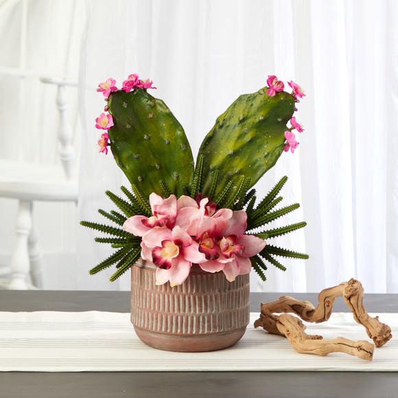 18 Cymbidium Orchid and Cactus Artificial Arrangement in Stoneware Vase - SKU #A1387 - 2