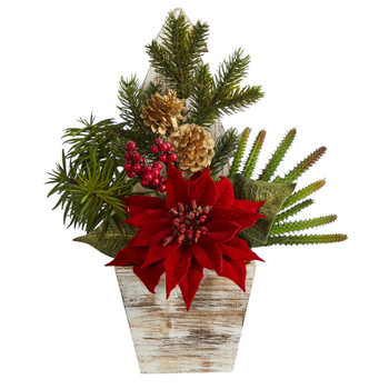 15 Poinsettia Cactus and Succulent Artificial Arrangement in Christmas Tree Planter - SKU #A1388
