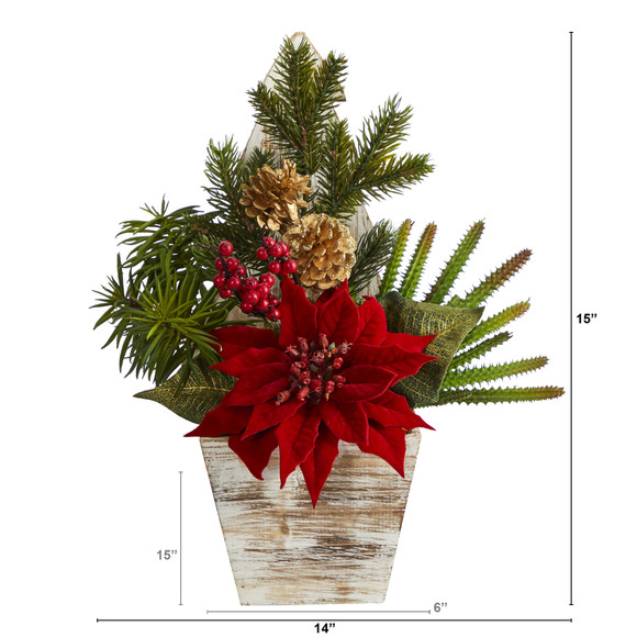 15 Poinsettia Cactus and Succulent Artificial Arrangement in Christmas Tree Planter - SKU #A1388 - 1