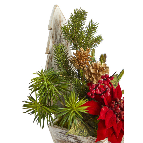 15 Poinsettia Cactus and Succulent Artificial Arrangement in Christmas Tree Planter - SKU #A1388 - 2