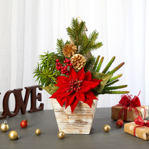 15 Poinsettia Cactus and Succulent Artificial Arrangement in Christmas Tree Planter - SKU #A1388 - 3
