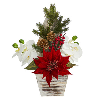15 Poinsettia and Orchid Artificial Arrangement in Christmas Tree Vase - SKU #A1389