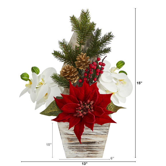 15 Poinsettia and Orchid Artificial Arrangement in Christmas Tree Vase - SKU #A1389 - 1
