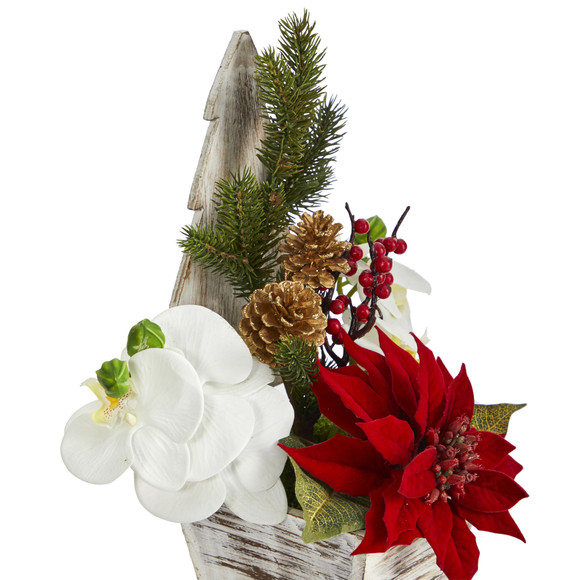 15 Poinsettia and Orchid Artificial Arrangement in Christmas Tree Vase - SKU #A1389 - 2