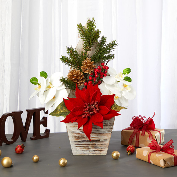 15 Poinsettia and Orchid Artificial Arrangement in Christmas Tree Vase - SKU #A1389 - 3