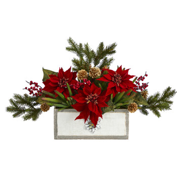 28 Poinsettia and Cactus Artificial Arrangement in Decorative Wood Vase - SKU #A1390