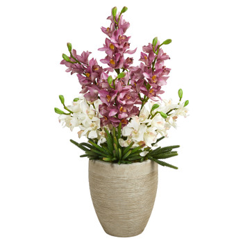 32 Cymbidium Orchid and Cactus Succulent Artificial Arrangement in Sand Colored Vase - SKU #A1393