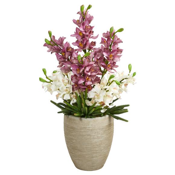 32 Cymbidium Orchid and Cactus Succulent Artificial Arrangement in Sand Colored Vase - SKU #A1393