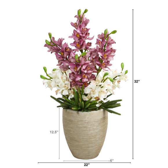 32 Cymbidium Orchid and Cactus Succulent Artificial Arrangement in Sand Colored Vase - SKU #A1393 - 1