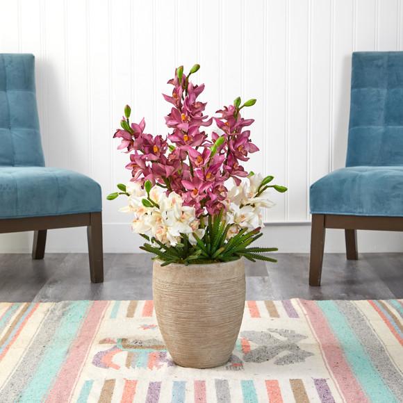 32 Cymbidium Orchid and Cactus Succulent Artificial Arrangement in Sand Colored Vase - SKU #A1393 - 2