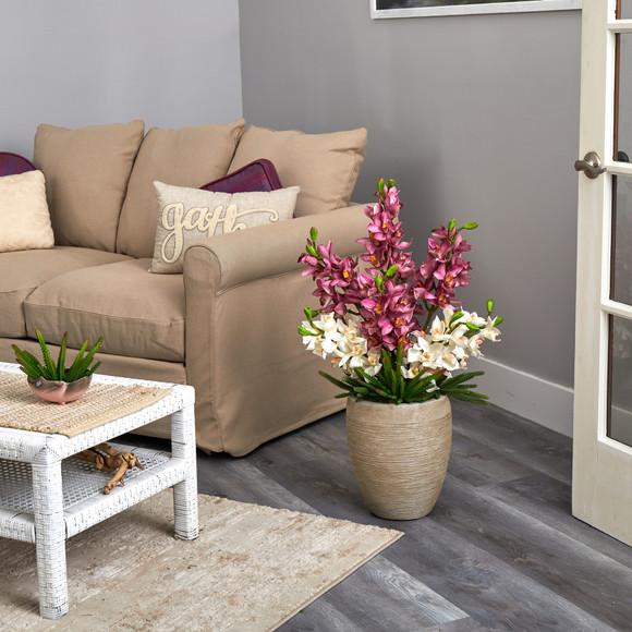 32 Cymbidium Orchid and Cactus Succulent Artificial Arrangement in Sand Colored Vase - SKU #A1393 - 3