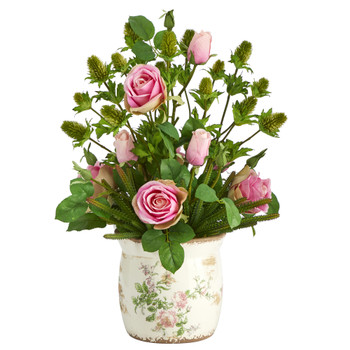 24 Rose Thistle and Succulent Artificial Arrangement in Floral Vase - SKU #A1394