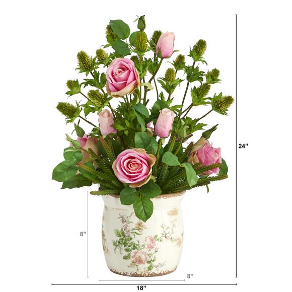 24 Rose Thistle and Succulent Artificial Arrangement in Floral Vase - SKU #A1394 - 1