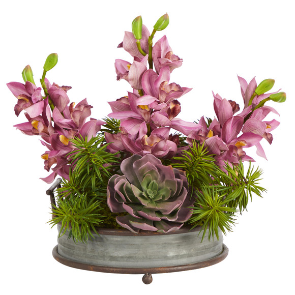 18 Cymbidium Orchid and Echeveria Succulent Artificial Arrangement in Metal Tray with Copper Trimming - SKU #A1395