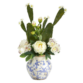 29 Cymbidium Orchid Peony and Cactus Succulent Artificial Arrangement in Vintage Floral Vase - SKU #A1396