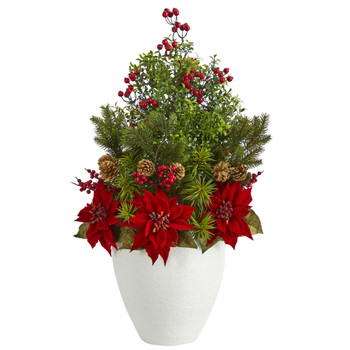 32 Poinsettia Boxwood and Succulent Artificial Arrangement in White Vase - SKU #A1397