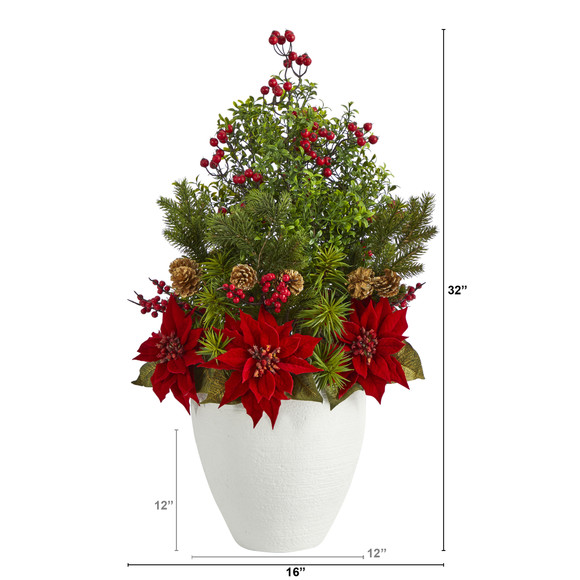 32 Poinsettia Boxwood and Succulent Artificial Arrangement in White Vase - SKU #A1397 - 1