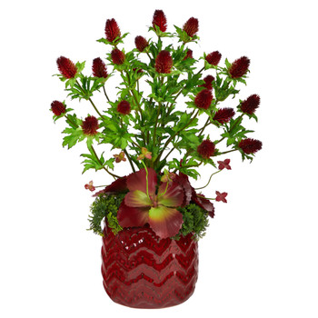 23 Thistle and Succulent Artificial Arrangement in Red Vase - SKU #A1399