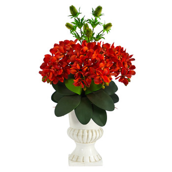 27 Phalaenopsis Orchid and Thistle Artificial Arrangement in White Urn - SKU #A1400