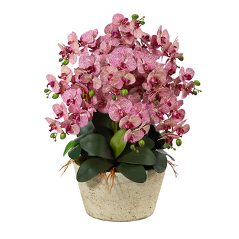 33 Phalaenopsis Orchid Artificial Arrangement in White Vase - SKU #A1401