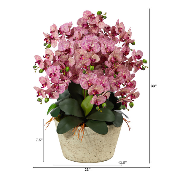 33 Phalaenopsis Orchid Artificial Arrangement in White Vase - SKU #A1401 - 1