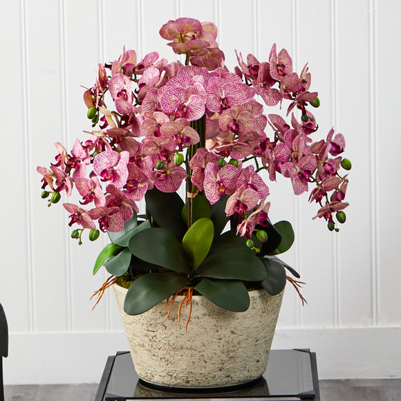 33 Phalaenopsis Orchid Artificial Arrangement in White Vase - SKU #A1401 - 2