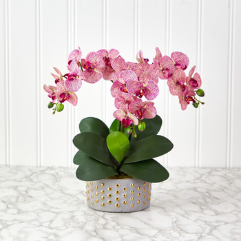 17 Phalaenopsis Orchid Artificial Arrangement in Bowl with Gold Trimming - SKU #A1402-PC