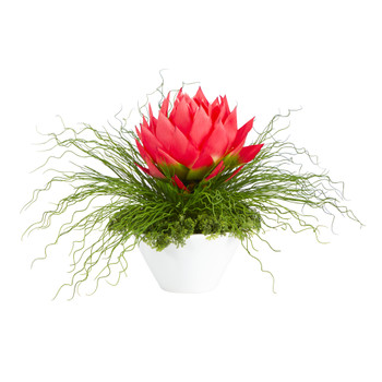 26 Musella and Grass Artificial Arrangement in White Vase - SKU #A1404