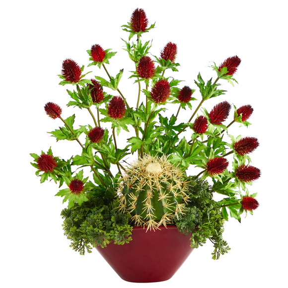 20 Thistle and Cactus Succulent Artificial Arrangement in Vase - SKU #A1405