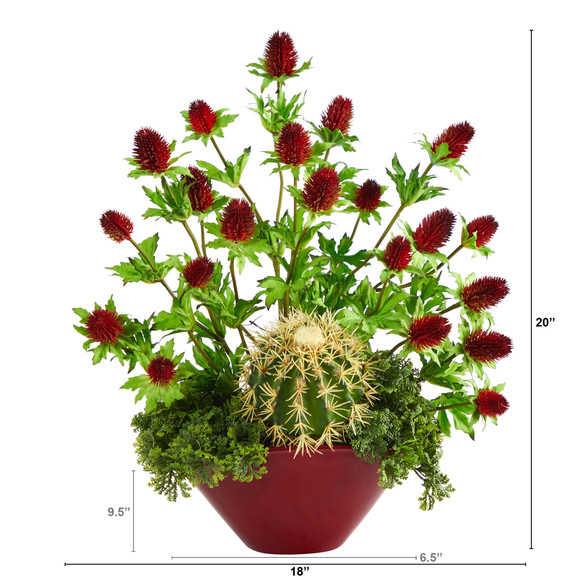 20 Thistle and Cactus Succulent Artificial Arrangement in Vase - SKU #A1405 - 1