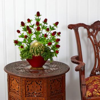 20 Thistle and Cactus Succulent Artificial Arrangement in Vase - SKU #A1405