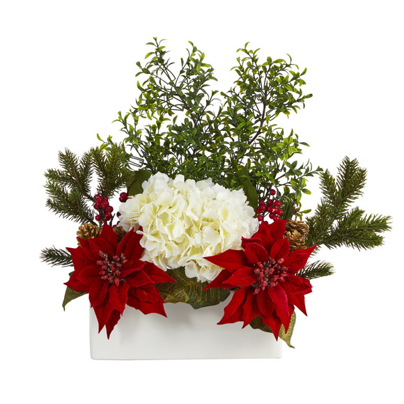 22 Poinsettia Hydrangea and Boxwood Artificial Arrangement in White Vase - SKU #A1406