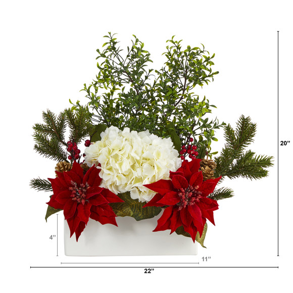 22 Poinsettia Hydrangea and Boxwood Artificial Arrangement in White Vase - SKU #A1406 - 1