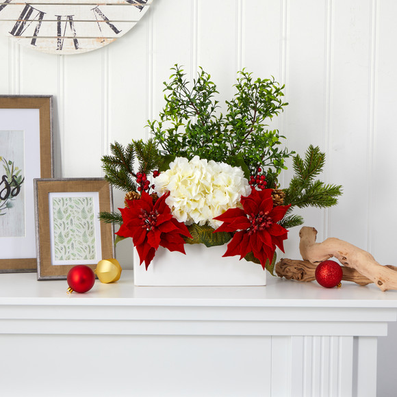 22 Poinsettia Hydrangea and Boxwood Artificial Arrangement in White Vase - SKU #A1406 - 2