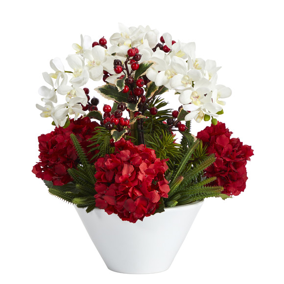 18 Phalaenopsis Orchid Hydrangea Cactus and Holly Berry Artificial Arrangement in Vase - SKU #A1407