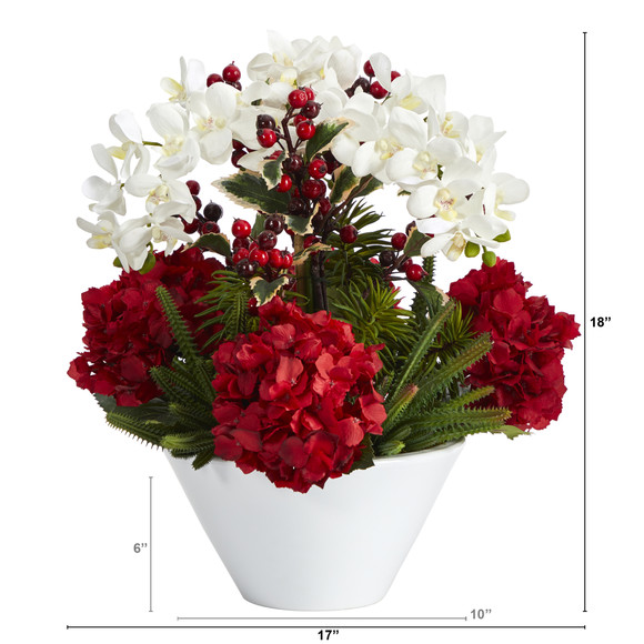 18 Phalaenopsis Orchid Hydrangea Cactus and Holly Berry Artificial Arrangement in Vase - SKU #A1407 - 1
