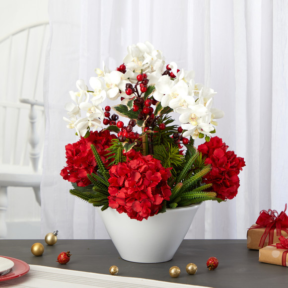 18 Phalaenopsis Orchid Hydrangea Cactus and Holly Berry Artificial Arrangement in Vase - SKU #A1407 - 2