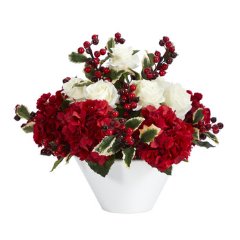 17 Rose Hydrangea and Holly Berry Artificial Arrangement in White Vase - SKU #A1408