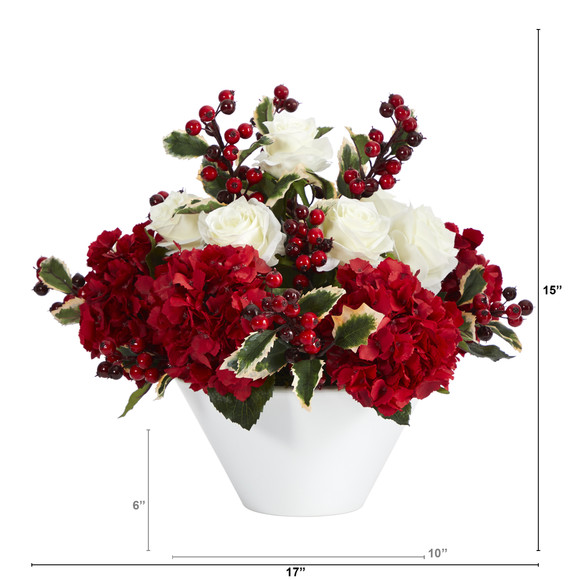 17 Rose Hydrangea and Holly Berry Artificial Arrangement in White Vase - SKU #A1408 - 1