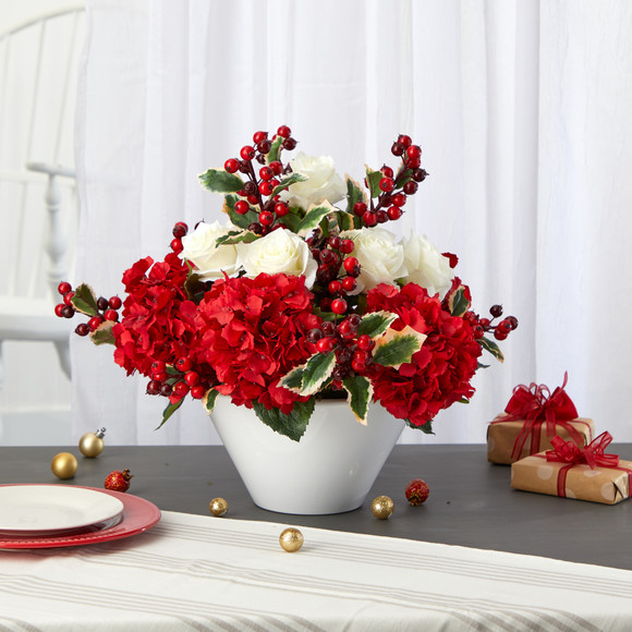 17 Rose Hydrangea and Holly Berry Artificial Arrangement in White Vase - SKU #A1408 - 2