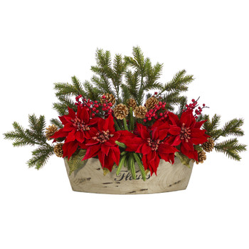 25 Poinsettia Succulent and Pine Artificial Arrangement in Decorative Vase - SKU #A1409
