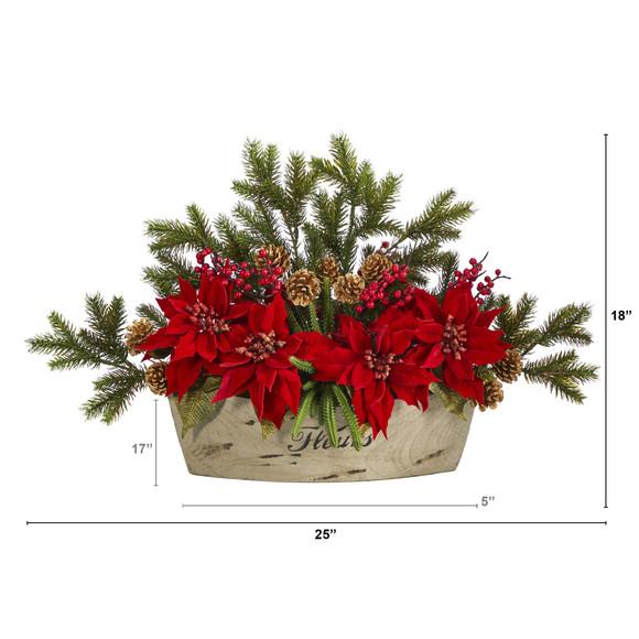 25 Poinsettia Succulent and Pine Artificial Arrangement in Decorative Vase - SKU #A1409 - 1